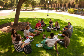 Students holding class outdoors
