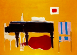 abstract painting of piano, stringed instrument, chalr